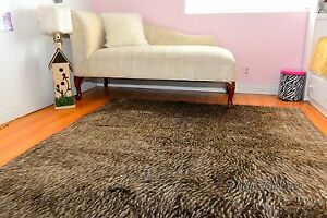 Gray Coyote Rectangle Area Rug Faux Fur Lodge Cabin Cottage Rustic Home Decors