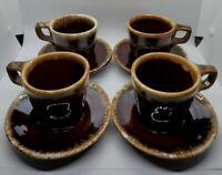 Set of 4 Vintage Hull Brown Drip Cup Mug and Crestone Saucer D Handle