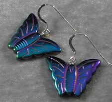 Rainbow Manmade Hematite Butterfly Earrings Blue Purple Green Gold Silver #3