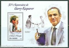 SAO TOME 2013 50th BIRTH ANNIVERSARY GARRY KASPAROV CHESS SOUVENIR SHEET MINT NH