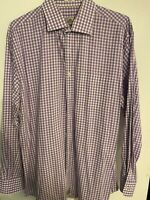 Peter Millar Mens sz XL Button Down Shirt Purple Plaid Button Down Cotton Silk