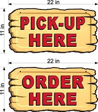 SINGLE SIDED  PLEXIGLASS  ORDER  & PICK UP ORDER HERE 2 SIGNS WOODEN BACKGROUND