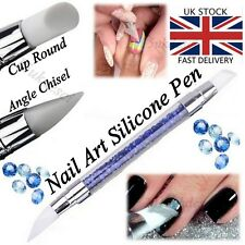SILICONE Nail Art Brush OLOGRAFICA Rosa Oro Specchio Cromo in Polvere Strumento Penna