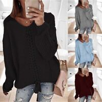 Casual Neck Pullover Loose Jumper Tops Knitted Blouse Women's Lace Up V Sweaters