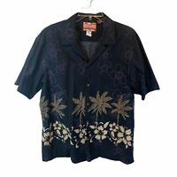 RJC Hawaiian Shirt Black with Palm Trees & Flowers Size XL Cotton Made in Hawaii