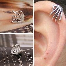 Skeleton Hand Ear Cuff Silver Plated Ear Bone Personality Clip Earring XC
