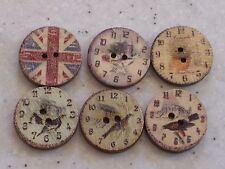 NEW BULK 100 Mixed Vintage, Shabby Chic Clock Design buttons 20mm,  FREE P&P