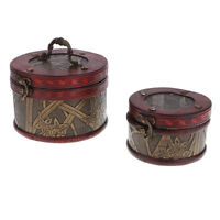 2PCS Retro Wood Jewelry Storage Box Treasure Chest Organizer Box Home Decor