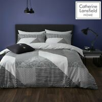 Catherine Lansfield Larsson Geo Easy Care Reversible Duvet/Bedding Set Grey