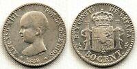 SPAIN-Alfonso XIII. 50 centimos 1889*8-9. Madrid.. Plata 2,5 g. ESCASA