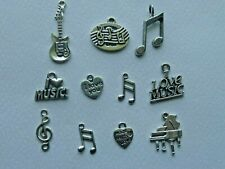 I LOVE MUSIC GUITAR MUSIC NOTES CLEF PIANO CHARM SET COLLECTION