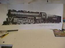 """Railroad Art,Staufer, ATSF Hudson,4-6-4,#3463, charcoal drawingw/specs.35X14"""""""