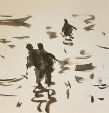 JOSE TRUJILLO - INK WASH SIGNED 11X11 Loose Brush Style PAINTING WATER MOVEMENT