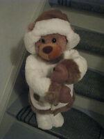 Weihnachtsbär 70cm Bär braun/Weiss Weihnachtsdekoration Deko Weihnachten Figur