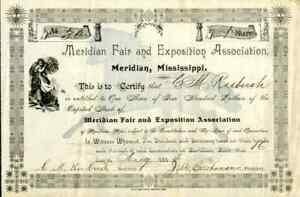 1894 Meridian Fair & Exposition Association StockCertificate