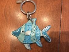 NEW Coach Turquoise Leather Fish Keychain/KeyFob/Keyring/Charm #92310
