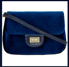 New Designer CHRISTIAN LACROIX Blue Velvet Crossbody Handbag + Dust Bag Gift
