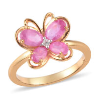 925 Sterling Silver Yellow Gold Over Pink Sapphire Butterfly Ring Gift Ct 2.2