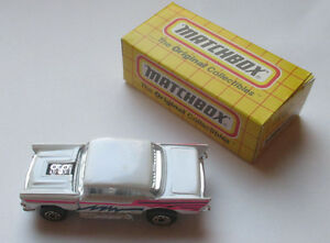 Vintage Matchbox Car  #4 57 Chevy White Die Cast Metal 1995 Hood Lifts Up