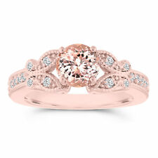 Rose Gold Morganite Butterfly Engagement Ring 1.08 Carat Certified Handmade