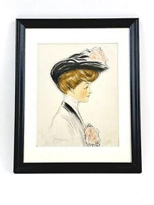 Grace Wiederseim (Drayton) Signed Charcoal Watercolor Lady Portrait Sketch 1