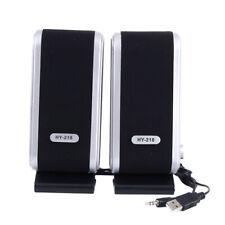 2X Black Multimedia Stereo Usb Speakers System For Laptop Desktop Pc Computer