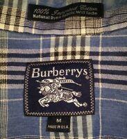 VINTAGE Prorsum Burberry Blue Nova Check Plaid Long Sleeve Homespun Shirt M