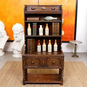 Antique Oak Open Bookcase Edwardian Bookshelves Shelving Solid Carved Barley