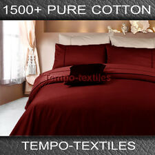 New Arri QB 1500TC Pure Egyptian Cotton Fitted Flat Pillowcases Sheet Set Red
