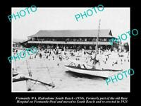 OLD LARGE HISTORIC PHOTO OF FREMANTLE WA HYDRODOME ON THE SOUTH BEACH c1930s