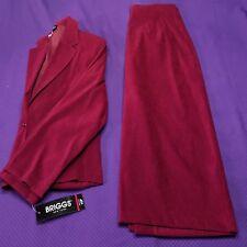 BRIGGS New York (2) Piece Raspberry Red Suit 10P Jacket + 12P Skirt Office
