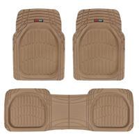 FlexTough Shell Beige Rubber Floor Mats Heavy Duty Deep Channel for Car 3pc Set