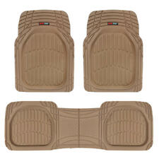 FlexTough Shell Beige Rubber Floor Mats Heavy Duty Deep Channel for Car 3pc Set