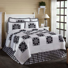 New Primitive Farmhouse Chic BLACK WHITE BUFFALO CHECK Star Quilt KING 4 pc Set
