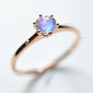 Solitaire Rainbow Moonstone Gemstone Ring Solid 14k Rose Gold Handmade Jewelry