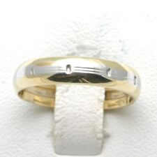 Vintage 14k yellow & white gold wedding band domed two tone 4.8mm