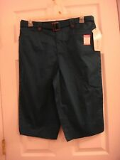 Womens White Stag Relaxed Sits At Waist Flat Front Dark Teal Capri's Size 12 New