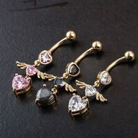 3 Colors Navel Belly Button Rings Body Jewelry Bar Heart Angel Belly Piercing