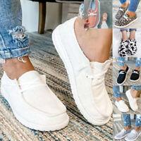 Damen Flache Loafers Canvas Segeltuchschuhe Sneakers Slipper Freizeit Halbschuhe