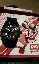 Marc Ecko Designer Black and White Watch with Earbud Gift Set BRAND NEW IN BOX