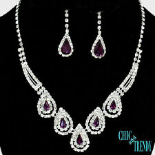 KNOCKOUT CRYSTAL PROM FORMAL WEDDING NECKLACE JEWELRY SET CHIC AND TRENDY