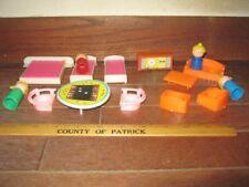 Vintage Plastic Furniture and People Miniature Playset 1980's 15 piece