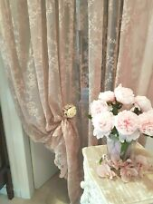 Tenda Shabby Chic in Pizzo da Arredo Tendone Finestra Sala Camera Salotto Malva