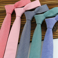 Men Skinny Tie Narrow Solid Cotton Neck Ties Slim Necktie Party Wedding Business