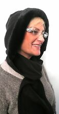 Ladies Scarf-Hat Hooded Scarf Black Faux Fur Hat Wind Protection