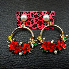 Betsey Johnson Rhinestone Cute Flower Dangle Earrings Long Fashion Jewelry