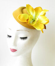 Yellow Mustard Orchid Flower Pillbox Hat Fascinator Races Rockabilly 1950s 1170