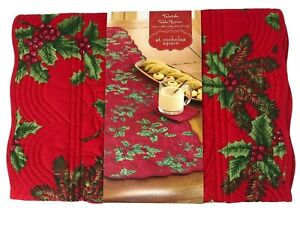"""st nicholas square Yuletide Table Runner 13"""" x 54"""" Red Quilted Holly Berries NWT"""