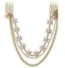Rhinestone Pearl Flower Hair Cuff Chain Comb Jewelry Headpiece Headband