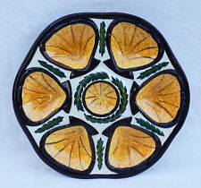 Vintage Gold Oyster Plate St Jean Bretagne French Faience Quimper